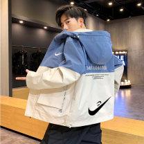 Jacket Monikehan / monek Korea Youth fashion 8020 blue, 8020 khaki, 8020 green M,L,XL,2XL,3XL,4XL routine easy Other leisure spring MLL-【XB+DB】-DQC8022 Polyester 100% Long sleeves Wear out Hood tide teenagers routine Zipper placket 2021 Cloth hem No iron treatment Closing sleeve Solid color