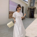 Dress Summer 2021 white S M L longuette singleton  Short sleeve commute Crew neck High waist Solid color Socket A-line skirt puff sleeve Others 18-24 years old Type A Kemizi Korean version zipper 81% (inclusive) - 90% (inclusive) cotton Cotton 90% polyester 10%