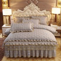 Bed skirt 1.5m bed [full set of 4-piece cotton jacket], 1.8m bed [full set of 4-piece cotton jacket], 1.8x2.2m bed [full set of 4-piece cotton jacket], 2m bed [full set of 4-piece cotton jacket] cotton Mengjiesi Plants and flowers First Grade 158211732242632