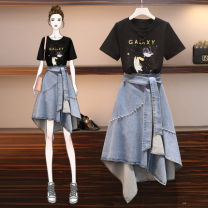 Women's large Spring 2021 Black top (tmall quality) denim skirt (tmall quality) picture color suit (tmall quality) M L XL 2XL 3XL 4XL Two piece set commute Self cultivation thin Socket Short sleeve Cartoon animation solid color Korean version routine Denim polyester Three dimensional cutting other