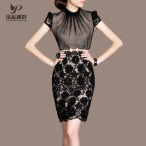 Dress Summer of 2019 Mid length dress singleton  Short sleeve commute stand collar High waist Decor Socket Pencil skirt Wrap sleeves Others 35-39 years old Type H Ol style 91% (inclusive) - 95% (inclusive) organza  polyester fiber