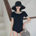 one piece  other M,L,XL Navy Blue Triangle one piece swimsuit With chest pad without steel support Polyester, nylon, others, spandex female Short sleeve Casual swimsuit Other, solid backless
