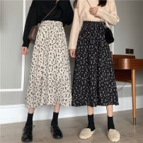 skirt Summer 2021 S M L XL 2XL White black Mid length dress Sweet Natural waist A-line skirt Broken flowers 18-24 years old 4-6-0025 More than 95% Chiffon Cashmere other printing Other 100% Mori