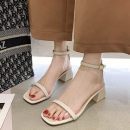 Sandals 35,36,37,38,39 Black, black upgrade, beige upgrade, beige, black rivet, beige rivet, black rivet upgrade, beige rivet upgrade PU Daphne's recommendation Barefoot Thick heel Middle heel (3-5cm) Summer 2020 Flat buckle Korean version Solid color Adhesive shoes rubber daily Ankle strap Low Gang