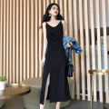 Dress Summer 2021 black S,M,L,XL Mid length dress singleton  Sleeveless street Crew neck High waist Solid color Socket Irregular skirt routine camisole 18-24 years old Type H Other / other 30% and below Chiffon polyester fiber