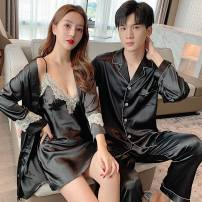 Pajamas / housewear set lovers Other / other Female m, female L, female XL, female XXL, male L, male XL, male XXL, male XXXL Polyester (polyester) Long sleeves Simplicity pajamas autumn routine Shirt collar Plants and flowers trousers Front buckle youth 2 pieces rubber string More than 95% silk