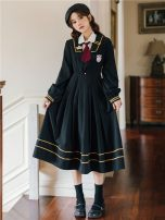 Dress Winter 2020 White shirt and tie, black JK dress, two-piece suit of academic style S,M,L,XL Mid length dress singleton  Long sleeves commute Admiral High waist Solid color Socket Pleated skirt routine Others 18-24 years old Type A Janet Retro Embroidery, folds, buttons JND2221 More than 95%