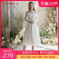 Dress Summer 2020 white S. M, l, please consult the designer for customization longuette singleton  Long sleeves commute One word collar middle-waisted Solid color zipper Princess Dress routine camisole 18-24 years old Type A Onerila lady Nail bead, gauze net, zipper More than 95% Chiffon nylon