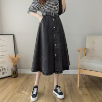 skirt Summer 2021 S M L XL Black light blue Mid length dress Versatile High waist A-line skirt Solid color Type A LYY21-3711 More than 95% other Li Yinyan other Pocket lace up for old buttons Other 100% Pure e-commerce (online only)