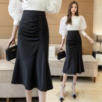 skirt Summer 2021 S M L XL black Mid length dress Versatile High waist A-line skirt Solid color Type A LYY21-8182 More than 95% other Li Yinyan other Ruffled asymmetric zipper Other 100% Pure e-commerce (online only)