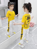 suit Pinbalabala White T-shirt + black pants suit, yellow T-shirt + white pants suit, white T-shirt + red pants suit, white T-shirt + black shorts suit, yellow T-shirt + white shorts suit, white T-shirt + red shorts suit 110cm,120cm,130cm,140cm,150cm,160cm female summer Korean version 2 pieces Socket