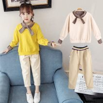suit Other / other Bow Tie Suit yellow, Bow Tie Suit apricot The recommended height is 40cm for size 80, 100cm for Size 110, 110cm for Size 120, 120cm for Size 130, 130cm for size 140, 140cm for size 150 and 150cm for size 160 female spring and autumn Korean version other 2 pieces routine Socket