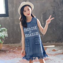 Dress blue female Other / other 120cm,130cm,140cm,150cm,160cm Other 100% summer leisure time Skirt / vest Solid color cotton A-line skirt TXYZ210022 Class B 14 years old