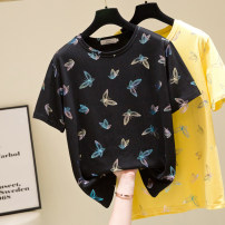 Women's large Summer 2021 Black, yellow L [recommended 90-120 Jin], XL [120-140 Jin], 2XL [140-160 Jin recommended], 3XL [160-180 Jin recommended], 4XL [180-200 Jin recommended] T-shirt singleton  commute easy moderate Socket Short sleeve routine Three dimensional cutting routine DK6951 Other / other