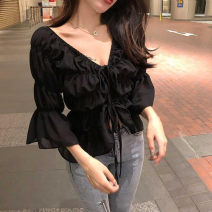 Lace / Chiffon Summer of 2019 Black, white Average size commute Socket singleton  easy have cash less than that is registered in the accounts One word collar Solid color 18-24 years old Pleating Korean version