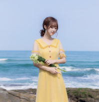Dress Summer 2021 yellow S,M,L,XL Mid length dress singleton  Short sleeve commute Polo collar middle-waisted Solid color Socket Pleated skirt routine 18-24 years old Type A VALVOELITE Korean version Stitching, sequins, mesh QWER1 91% (inclusive) - 95% (inclusive) organza  cotton