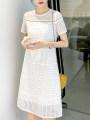 Dress Summer 2021 Cloud white S,M,L,XL longuette singleton  Short sleeve commute Crew neck High waist Solid color zipper A-line skirt routine Others Type A VALVOELITE Korean version QWER1 91% (inclusive) - 95% (inclusive) knitting silk