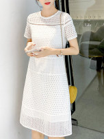 Dress Summer 2021 Cloud white S,M,L,XL longuette singleton  Short sleeve commute Crew neck High waist Solid color zipper A-line skirt routine Others Type A VALVOELITE Korean version QWER1 91% (inclusive) - 95% (inclusive) knitting silk