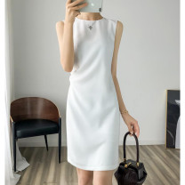 Dress Summer 2021 Black, white S,M,L,XL,2XL Mid length dress singleton  Sleeveless commute Crew neck Elastic waist Solid color other One pace skirt routine Others 30-34 years old Type H VALVOELITE QWER1 91% (inclusive) - 95% (inclusive) other other