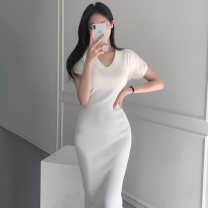 Dress Summer 2021 Black, white S,M,L,XL Mid length dress singleton  Short sleeve commute V-neck High waist Solid color Socket One pace skirt routine Others Type H VALVOELITE Korean version QWER1 91% (inclusive) - 95% (inclusive) cotton