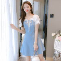 Dress Summer 2021 blue S,M,L,XL Short skirt Fake two pieces Short sleeve commute square neck middle-waisted Solid color zipper A-line skirt routine Others Type A VALVOELITE Korean version Lace up, stitching, strap, zipper QWER1 91% (inclusive) - 95% (inclusive) Denim