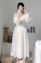 Dress Summer 2021 white XS,S,M,L,XL longuette singleton  three quarter sleeve commute V-neck middle-waisted Solid color Socket Big swing routine Others 25-29 years old Type A VALVOELITE Korean version Fold, thread, bead QWER1 81% (inclusive) - 90% (inclusive) organza  silk
