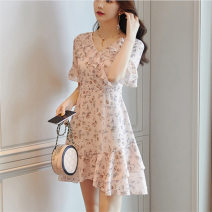 Dress Summer 2021 Decor S,M,L,XL Middle-skirt singleton  Short sleeve commute Doll Collar High waist Decor Socket A-line skirt routine Others 25-29 years old Type A VALVOELITE Korean version QWER1 91% (inclusive) - 95% (inclusive) Lace polyester fiber