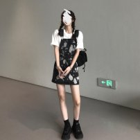 Assault suit sixty-three point eight zero female Tagkita / she and others Under 50 yuan S,M,L,XL Single white T-shirt, single black strap skirt, white T-shirt + black strap skirt, this item is preferred summer Summer 2021 printing