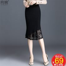 skirt Autumn of 2019 One size fits all [1'9 to 2'4] black Middle-skirt Versatile High waist skirt Solid color Type H XW-JP5922 91% (inclusive) - 95% (inclusive) knitting Other / other polyester fiber Asymmetry, lace