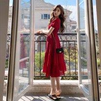 Women's large Summer 2021 gules S M L XL Dress singleton  commute thin Socket Short sleeve Korean version V-neck as-012 Xianbaola 18-24 years old longuette Other 100% Pure e-commerce (online only) Ruffle Skirt