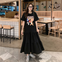 Dress Spring 2021 Dark grey, black, floral grey M (recommended 80-115 kg), l (recommended 115-130 kg), XL (recommended 130-150 kg), 2XL (recommended 150-190 kg) longuette singleton  Short sleeve commute Crew neck Loose waist Cartoon animation Socket Big swing routine Type A Damoda / yaotaiping bird