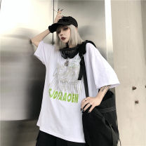 Women's large Summer 2020 White, black, grey Large L, large XL, m, 2XL T-shirt singleton  street easy moderate Socket Short sleeve Crew neck routine Polyester, cotton printing and dyeing routine Damoda / yaotaiping bird 18-24 years old 30% and below neutral