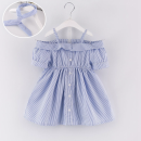 Dress blue female Other / other Size 7 is 80cm-90cm, size 9 is 90cm-100cm, size 11 is 100cm-110cm, size 13 is 110cm-120cm, size 15 is 120cm-130cm Cotton 90% other 10% summer Korean version Short sleeve stripe Cotton blended fabric Cake skirt 5S5FD8