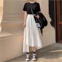 skirt Summer 2020 Average size Versatile High waist Pleated skirt Type A Other / other