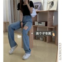 Jeans Summer 2021 S M L trousers High waist Straight pants routine 18-24 years old Cotton elastic denim light colour Cui chenti 81% (inclusive) - 90% (inclusive) Other 100%