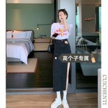 skirt Summer 2021 S M L Black [tall version] light blue [tall version] Mid length dress commute High waist A-line skirt 18-24 years old More than 95% Denim Cui chenti other Simplicity Other 100%