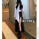 skirt Summer 2021 S M L Black skirt [tall version] Mid length dress commute High waist 18-24 years old More than 95% other Cui chenti other Simplicity Other 100%