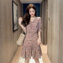 Dress Spring 2021 White, black S,M,L,XL Middle-skirt singleton  V-neck High waist Decor 18-24 years old other