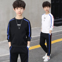 suit Pinbalabala White, black, blue, gray, yellow, green, blue letter, yellow Tu male spring and autumn motion Long sleeve + pants 2 pieces routine There are models in the real shooting Socket nothing Solid color cotton children birthday Class B