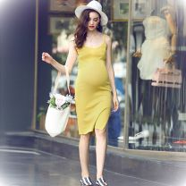 Dress Other Yellow, gray, pink, black, gray stripes, black and white stripes Average size Original design Sleeveless Medium length spring V-neck Solid color D2742