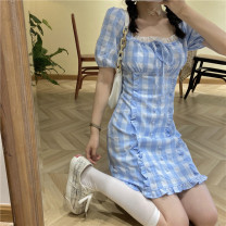 Dress Summer 2021 The sky is blue S, M Middle-skirt singleton  Short sleeve commute square neck High waist lattice Socket A-line skirt puff sleeve Breast wrapping 18-24 years old Type A Korean version 31% (inclusive) - 50% (inclusive) other cotton