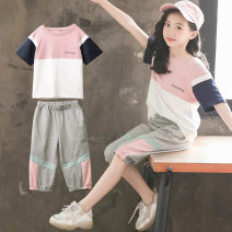 suit Helenka Pink 120cm 130cm 140cm 150cm 160cm female summer Korean version Short sleeve + pants 2 pieces Thin money There are models in the real shooting Socket nothing Solid color cotton colleague birthday Girls' summer color matching suit Class B Other 100% Chinese Mainland Zhejiang Province