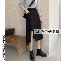 skirt Autumn 2020 S M L XS black Mid length dress Versatile High waist Irregular Solid color Type A 18-24 years old More than 95% other Shang Cuiling other Other 100% Pure e-commerce (online only)