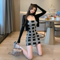 Dress Winter 2020 Pink cardigan, black cardigan, pink skirt, black skirt, pink two-piece suit, black two-piece suit S,M,L Short skirt Two piece set Long sleeves commute One word collar High waist lattice Socket One pace skirt routine camisole 25-29 years old Type X Ounynyca / oneica Korean version