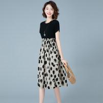 Dress Summer 2020 Medium length skirt Short sleeve commute singleton  Crew neck Design and color High waist Condom 25-29 years old A-line skirt Korean version JJD6566 Wannpoty / Wabo M,L,XL,3XL,XXL