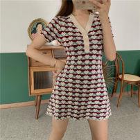 Dress Summer 2021 Picture skirt S,M,L,XL Short skirt singleton  Short sleeve V-neck middle-waisted Broken flowers Socket A-line skirt Other / other MOYX80582