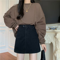 skirt Spring 2021 S,M,L,XL black Short skirt commute High waist A-line skirt Solid color Type A 18-24 years old 71% (inclusive) - 80% (inclusive) Denim cotton pocket