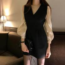 Dress Spring 2020 Black dress S,M,L,XL Mid length dress Two piece set Long sleeves commute Crew neck High waist Solid color Socket A-line skirt bishop sleeve Others Type A Korean version