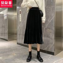skirt Winter 2020 Average size Black, flash black Mid length dress commute High waist A-line skirt Solid color Type A 25-29 years old 20SH3244 More than 95% Other / other other Korean version
