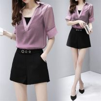 Lace / Chiffon Spring of 2019 Purple sling + vest, black sling + vest, black pants, purple suit, black suit S,M,L,XL,XXL elbow sleeve Original design Socket Two piece set Self cultivation Regular V-neck Solid color routine 18-24 years old Other / other SL8919 Open line decoration nylon